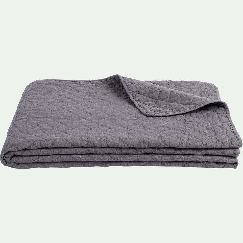 Couvre-lit effet lavé - gris restanque 180x230cm-THYM