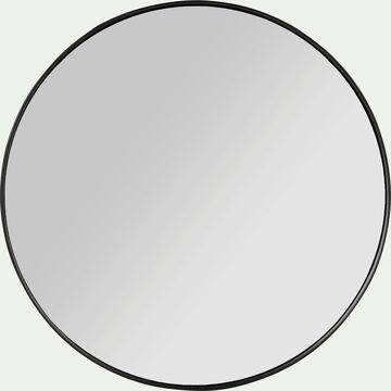 Miroir rond en bois noir D40cm-OUNDO