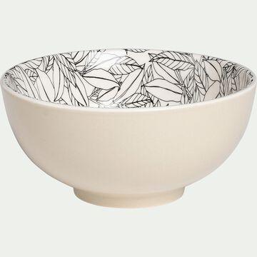 Bol en porcelaine motifs laurier - beige nèfle D15cm-AIX