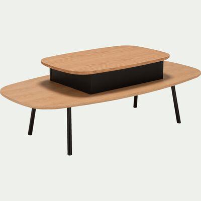 Table basse rectangulaire plaquée chêne avec plateau relevable-BADA