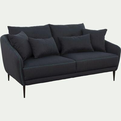 Canapé 2 places fixe en tissu bleu myrte-DOME