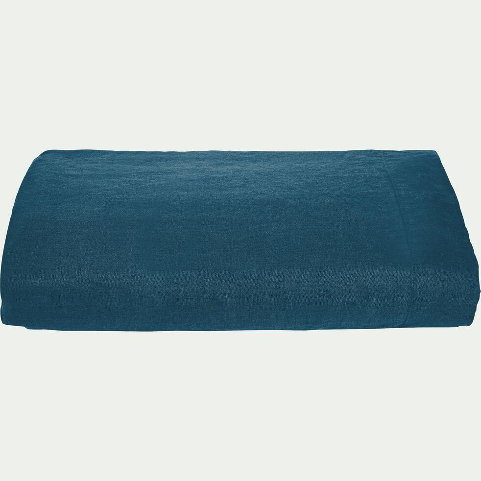 Drap plat en lin - bleu figuerolles 270x300cm-VENCE