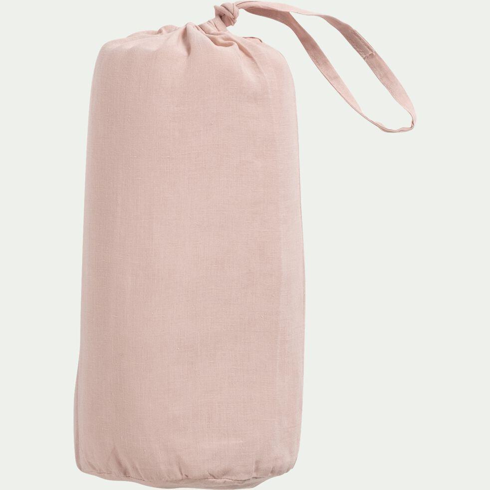 Drap housse en lin - rose rosa 160x200cm b28-VENCE