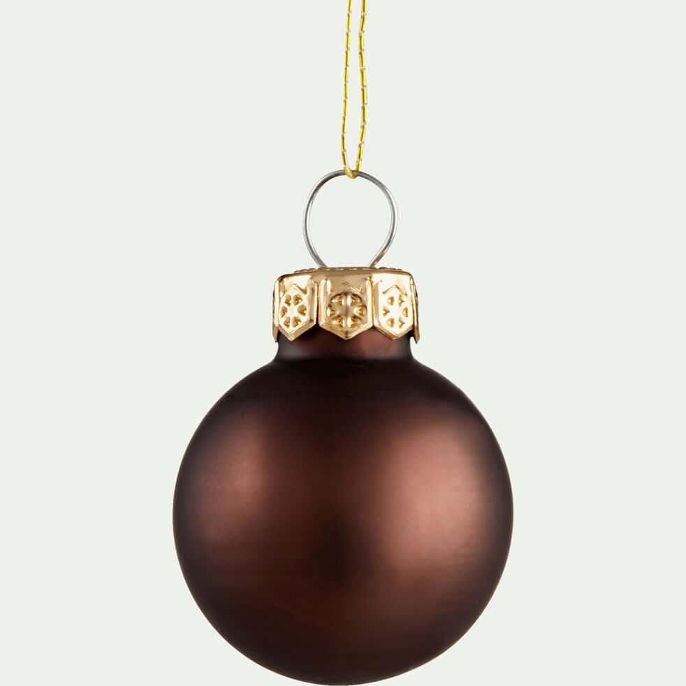 24 mini boules de Noël en verre chocolat D2,5cm-NIVE