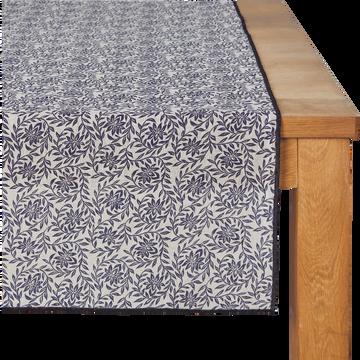 Chemin de table en lin à motifs jasmin bleu myrte 50x145cm-ARLES