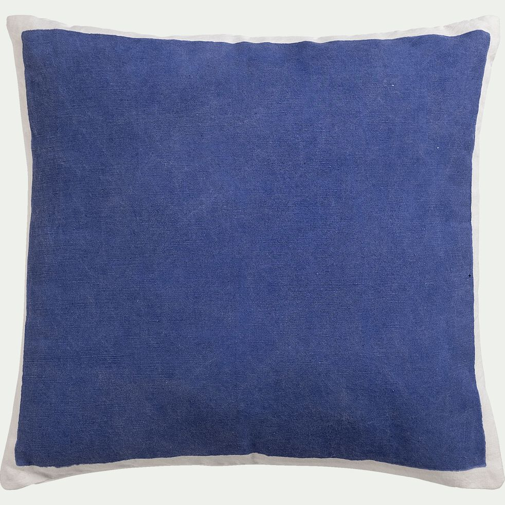 Coussin sérigraphié en lin et coton - bleu 45x45cm-OTA