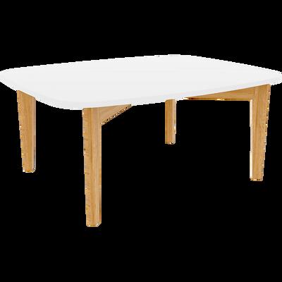 Table basse blanche avec pieds en chêne-SIWA