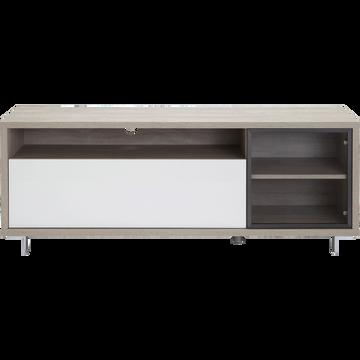 Meuble TV coloris chêne structuré et blanc laqué-ENZO