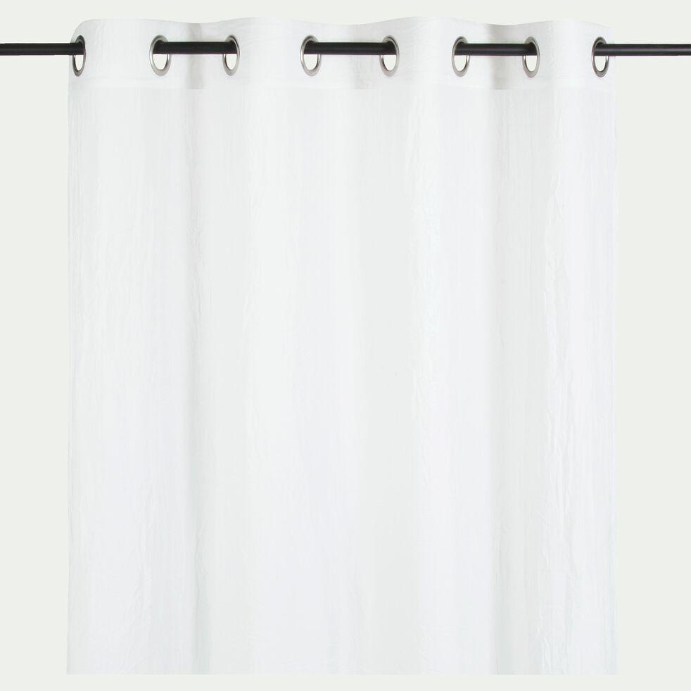 Voilage à œillets en coton et polyester - blanc 130x250cm-Alby