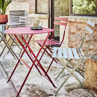 Table de jardin pliante rouge sumac D60cm (2 places)-PIMS