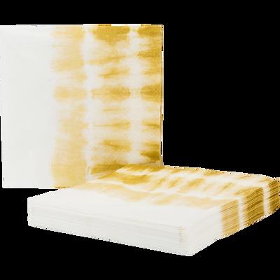 Lot de 20 serviettes en papier décoré jaune 33x33cm-ORION