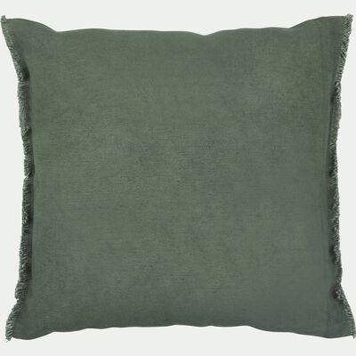 Coussin à franges en coton - vert cèdre 40x40cm-VENCE