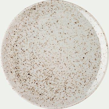 Assiette à dessert en porcelaine blanche mouchetée D20.5cm-JEANNE