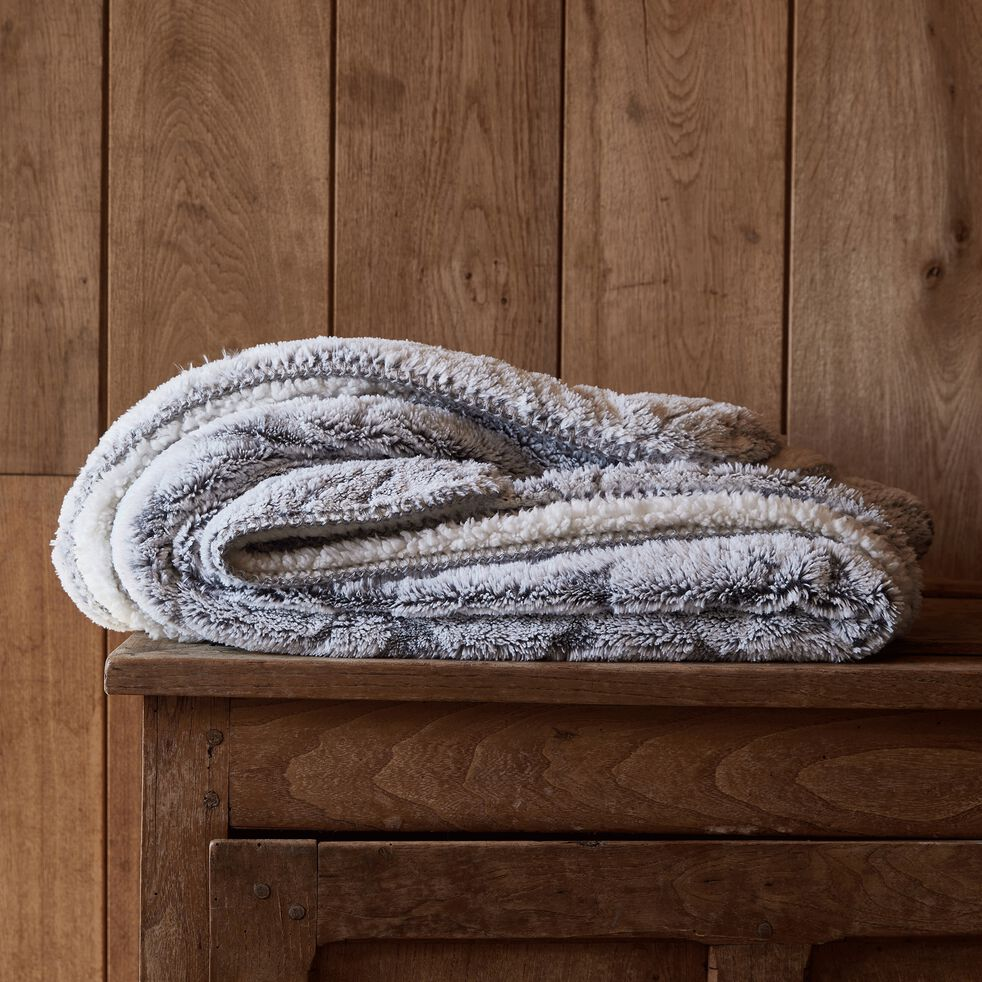 Couvre-lit réversible effet fourrure en polyester - gris 180x230cm-Lalou