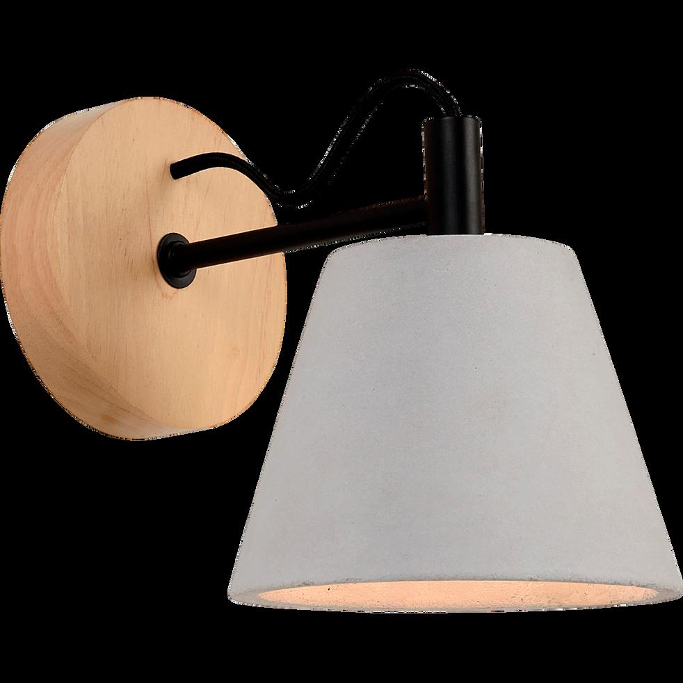 Applique en bois et béton H22cm à 1 lumière-POSSIO