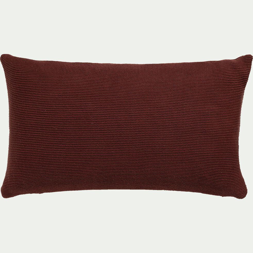 Coussin tricoté point mousse en coton - brun terre d'ombre 30x50cm-PUNTO