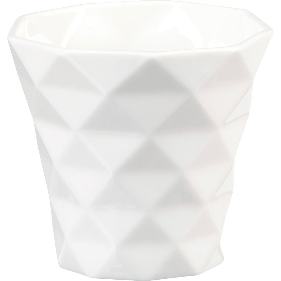 Tasse à café géométrique en porcelaine blanche-OCTO