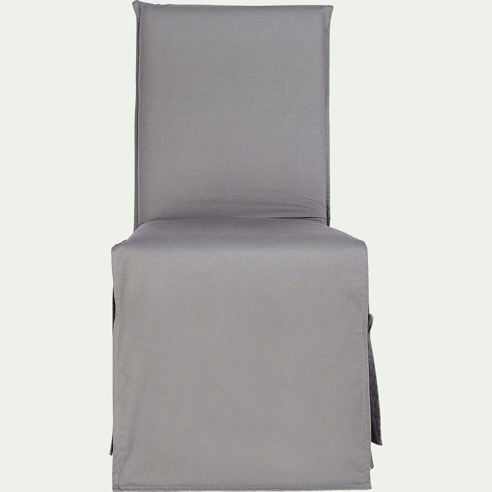 Housse de chaise en coton - gris restanque-LILY