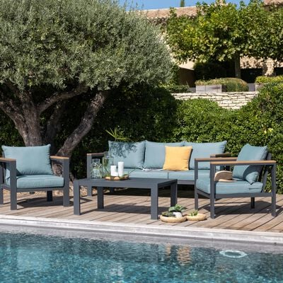 Salon de jardin en aluminium gris et bleu (5 places)-ROYAL