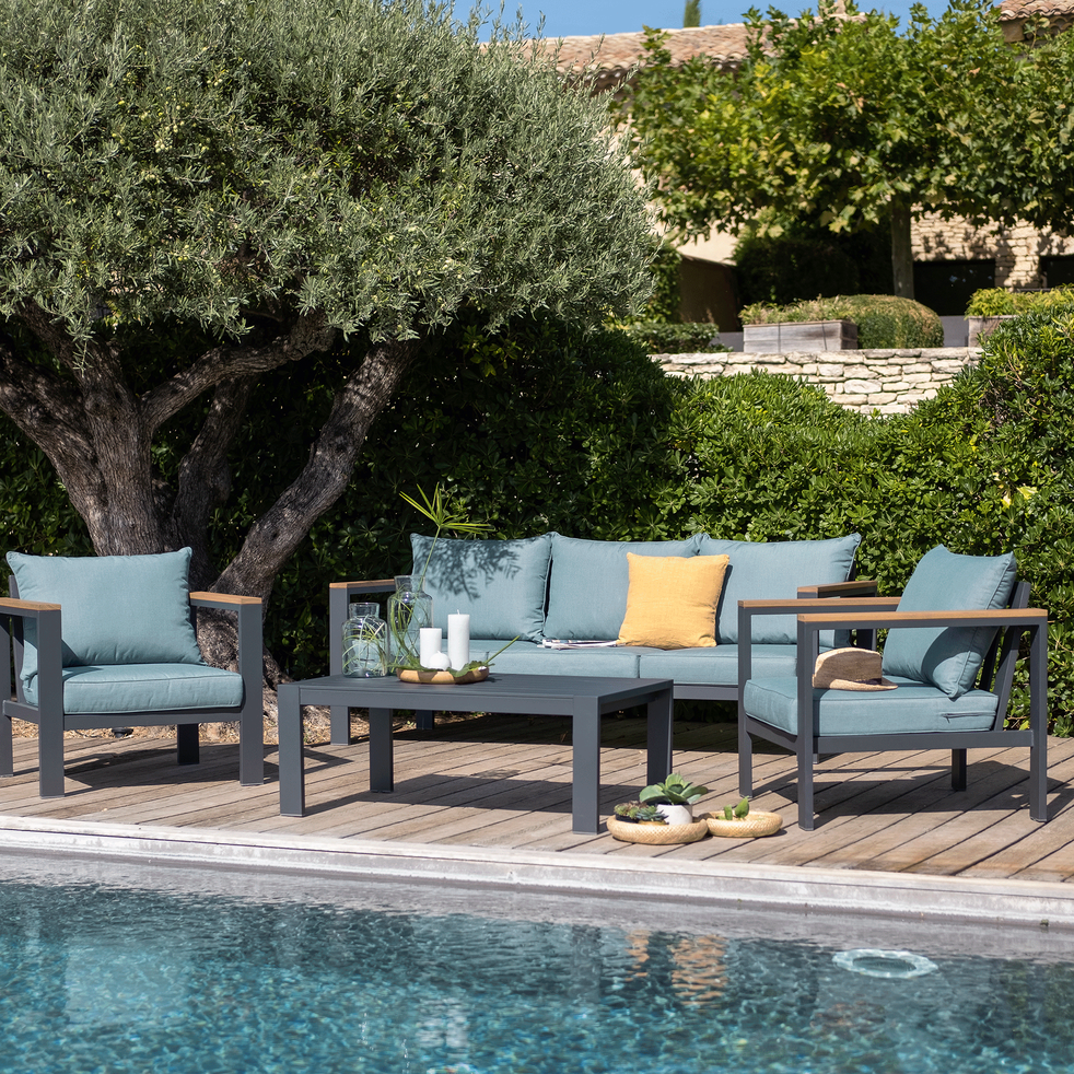 ROYAL - Salon de jardin en aluminium gris et bleu (5 places)