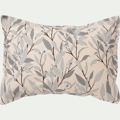 Lot de 2 taies d'oreiller en percale de coton imprimé Fleurs d'oranger - rectangle-FANNY