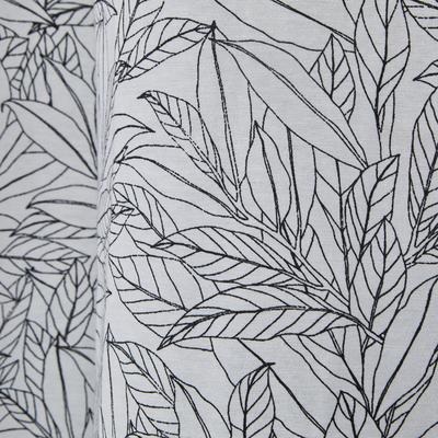 Rideau en coton blanc et noir motif feuilles de laurier 140x250cm-LAURIER