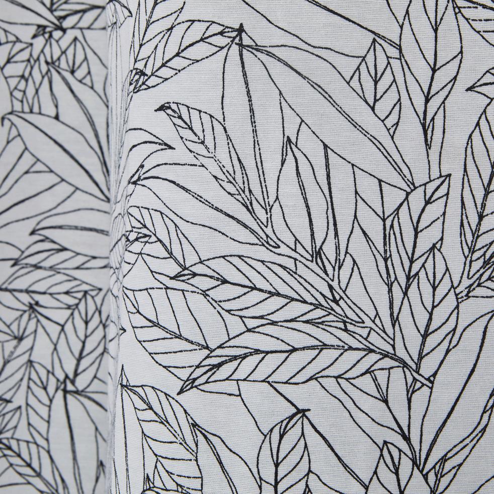 rideau en coton blanc et noir motif feuilles de laurier. Black Bedroom Furniture Sets. Home Design Ideas