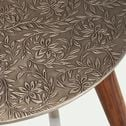 Bout de canapé rond effet métal motif jasmin-LEZ
