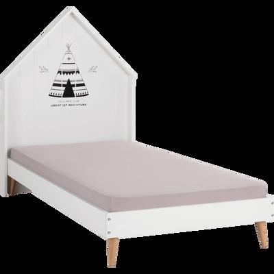 Lit 1 place décor tipi indien pieds en pin Blanc - 90x190 cm-MODULO