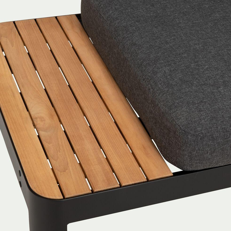 Méridienne de jardin modulable en teck (2 places) - noir-PORTALS