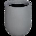 Cache-pot gris en plastique H37xD35cm-ALLURE