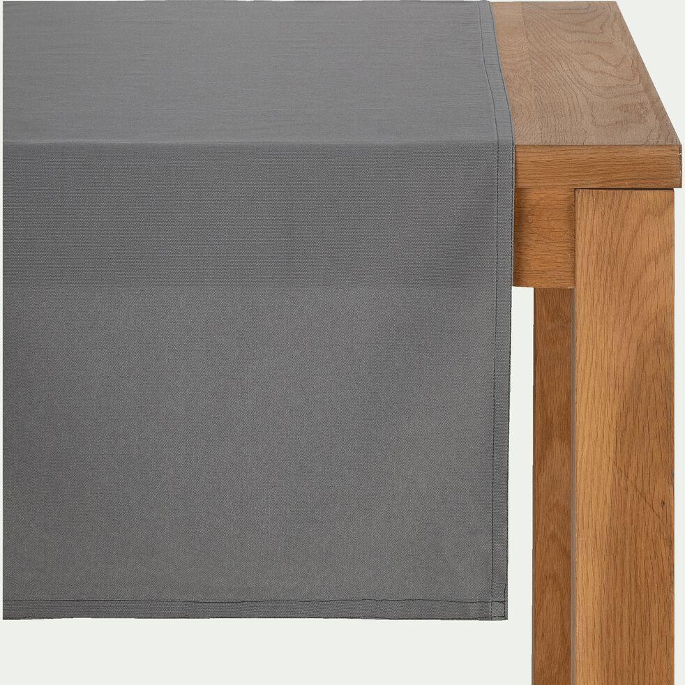 Chemin de table en coton gris borie 45x200cm-VENASQUE