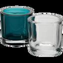 Photophore en verre bleu niolon H10cm-Triope
