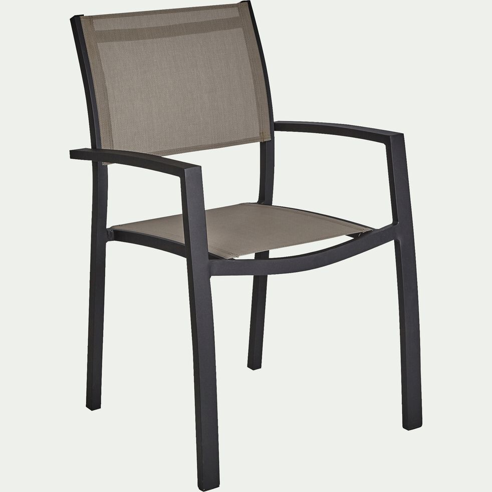 Chaise de jardin avec accoudoirs empilable gris en textilène-ELSA
