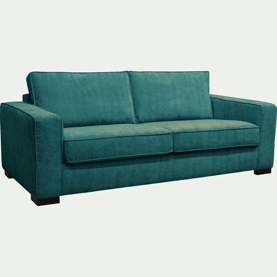 Canapé 3 places fixe en tissu bleu figuerolles-CALIFORNIA