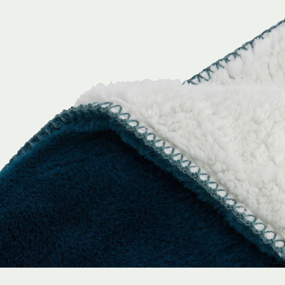 Couvre lit imitation fourrure- bleu figuerolles 180x220cm-MARIUS