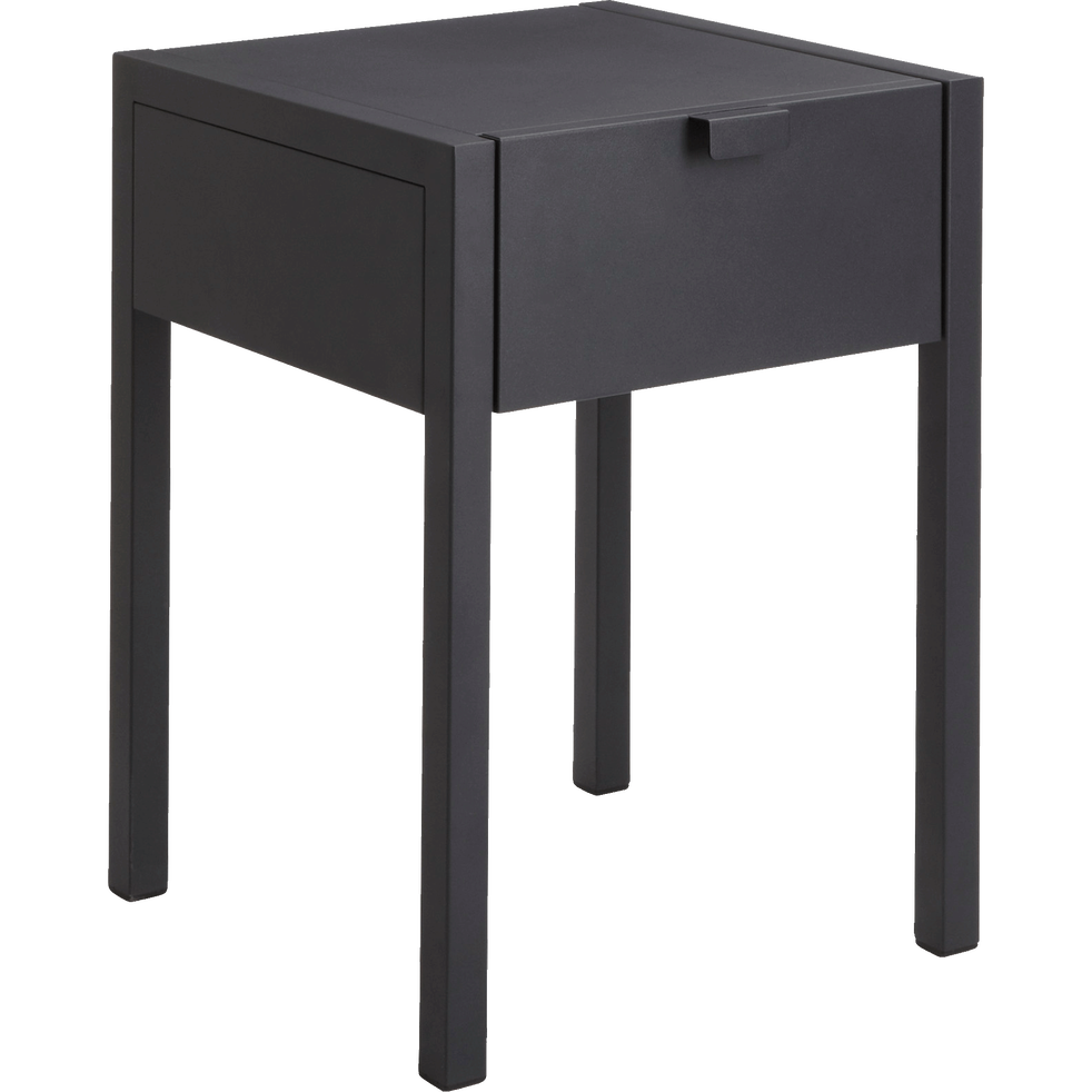 table de chevet en acier noir 1 tiroir anvers tables de chevet alinea. Black Bedroom Furniture Sets. Home Design Ideas