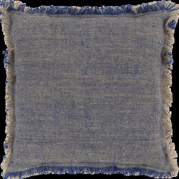 Coussin en lin 45x45cm naturel et bleu-CABANON
