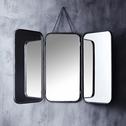 Miroir de barbier rectangulaire en métal noir 71x109.5cm-TODD