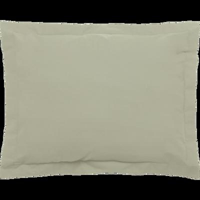 Taie d'oreiller en percale coton lavé 35x45cm vert olivier-PALOMA