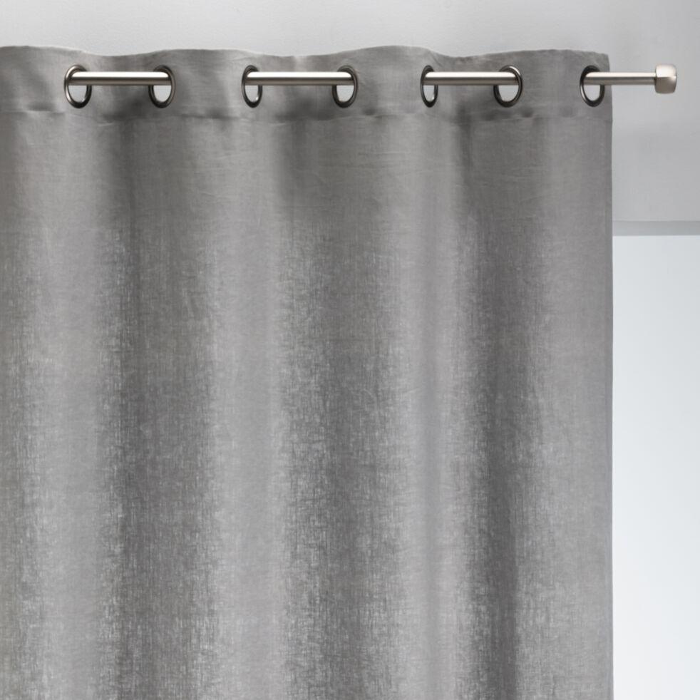 Rideau à œillets en lin - gris restanque 140x300cm-VALLON