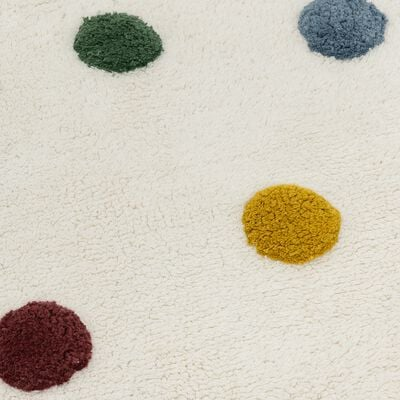 Tapis enfant tufté rond motif pompons d120cm - multicolore-Ella
