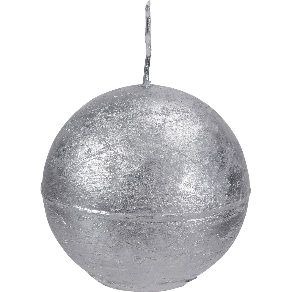 Bougie ronde argent D6cm-CYCLONE