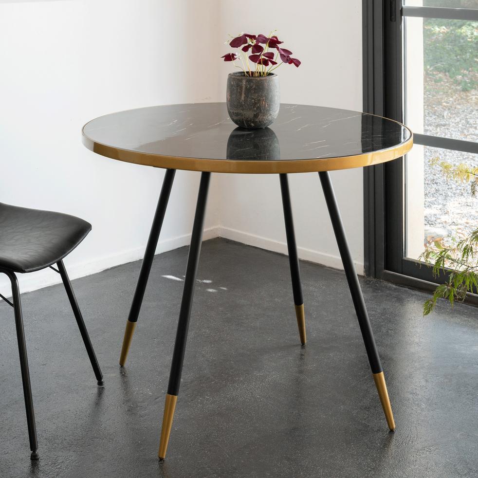 Table de repas ronde effet marbre noir - 4 places-MARTI