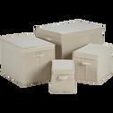Boîte de rangement en lin beige 40x27x27cm-AGAPANTHE
