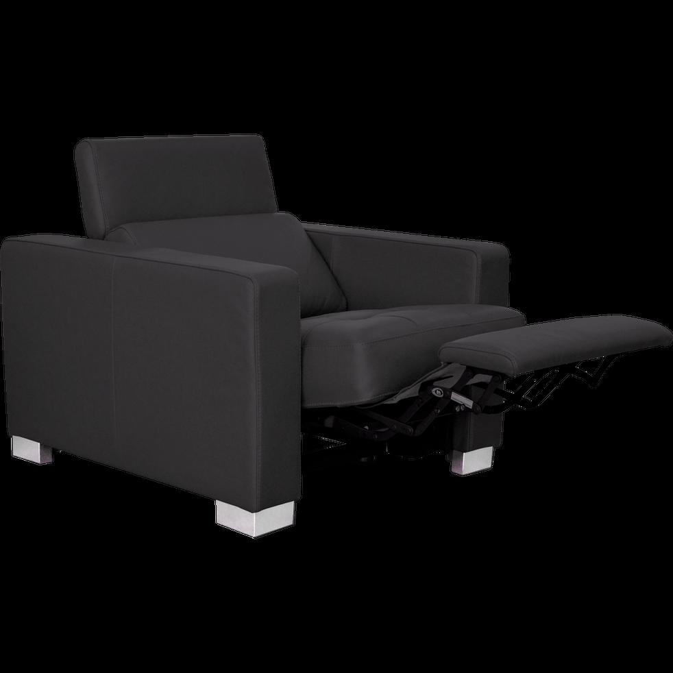 Fauteuil relax électrique en cuir noir-MAURO