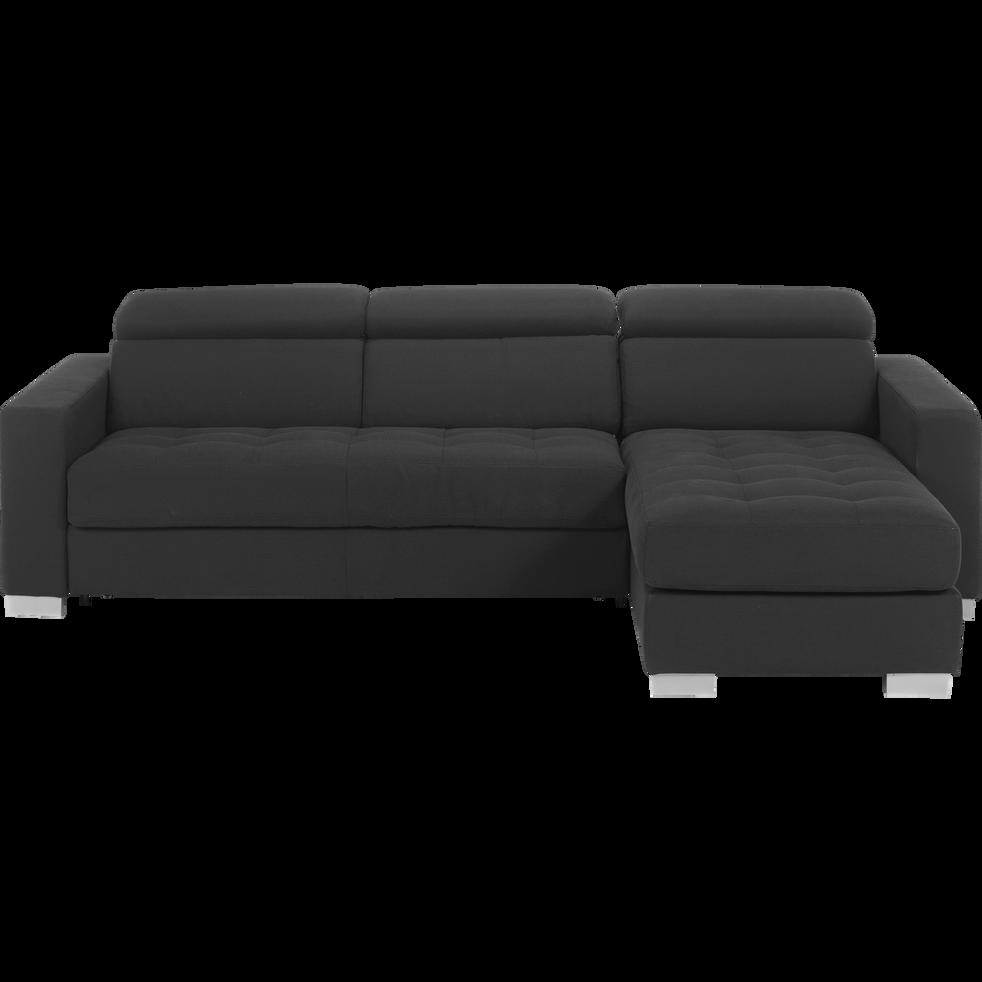 canap d 39 angle r versible convertible en tissu gris fonc. Black Bedroom Furniture Sets. Home Design Ideas