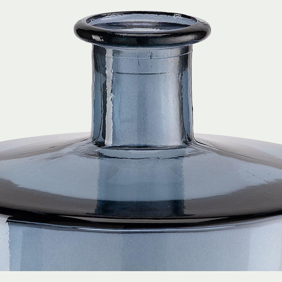 Vase en verre recyclé - bleu H26cm-VISHNU