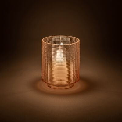 Photophore en verre rose D7xH8cm-Axios