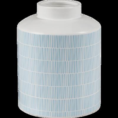 Vase en céramique bleu et blanc h16cm-TIGES